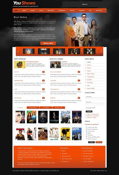 Youshows Joomla Tv Shows Template Web Templates Television Website Template