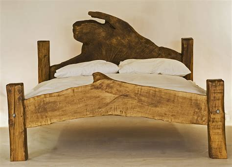 Handcrafted Beds - rustic handmade king size wooden bed by kwetu