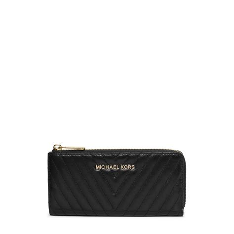 Michael Kors Black Quilted Wallet by Michael Kors Susannah Large Chevron Quilted Wallet In