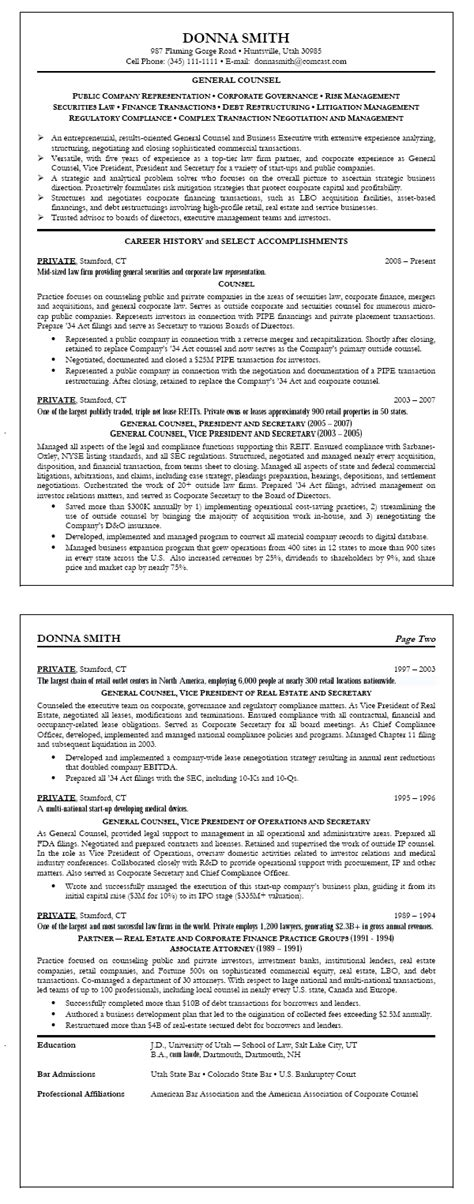resume sle 4 general counsel resume career