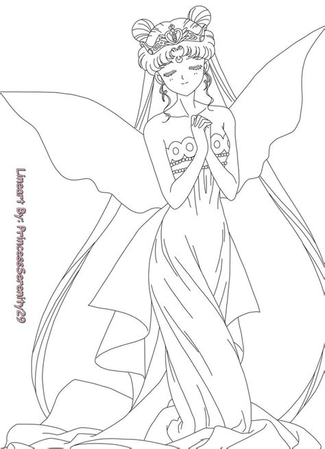Princess Serenity Lineart By Princessserenity29 On Deviantart Sailor Moon Princess Serenity Coloring Pages Free Coloring Sheets