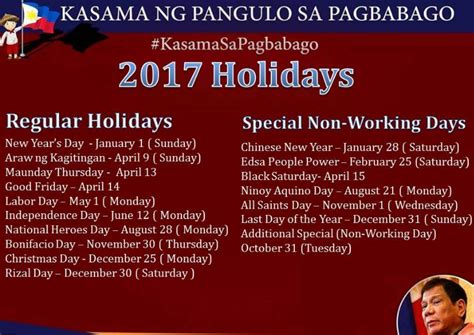 non working philippines regular holidays special non working days