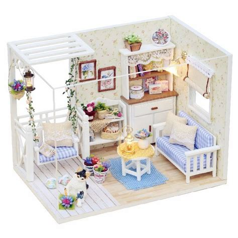 Doll House Decorating New Room 2 by Cuteroom 1 24 Dollhouse Miniature Diy Kit With Led Light