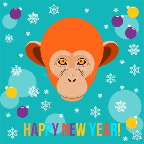happy new year card template happy new year card template with monkey stock