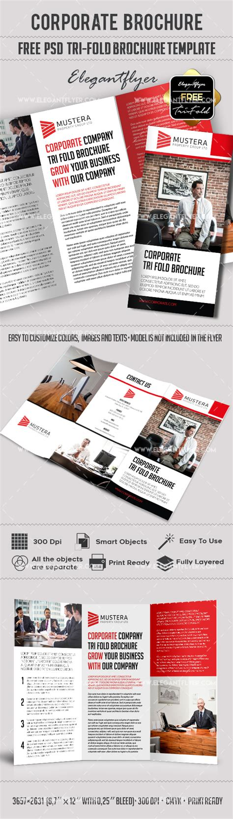 corporate free psd tri fold psd brochure template by