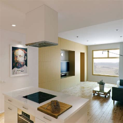 Interior Design Kitchen Living Room Apartamento Minimalista Muita Personalidade