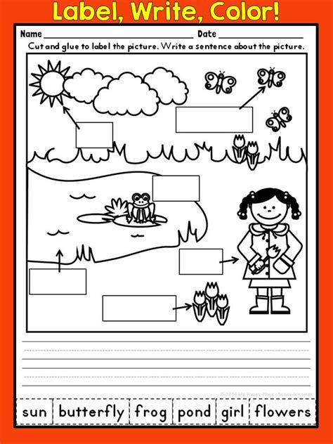 printables for kindergarten centers spring writing