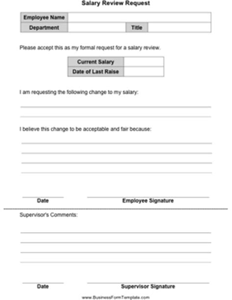 Salary Review Form Template salary review request template