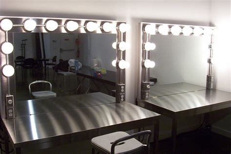 stainless steel makeup vanity table with large lighted