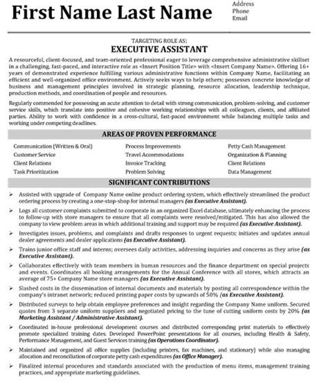 resume template for executive assistant targeted resume resume badak