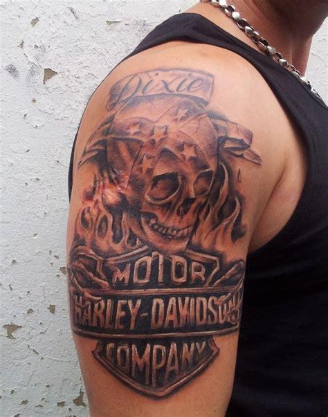 biker sleeve tattoo designs grey skull and harley davidson design on right half