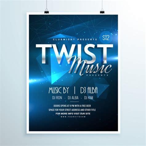 Flyer Vorlage Blau Abstracte Muziek Partij Flyer Sjabloon Uitnodiging In Abstracte Blauwe Achtergrond Vector