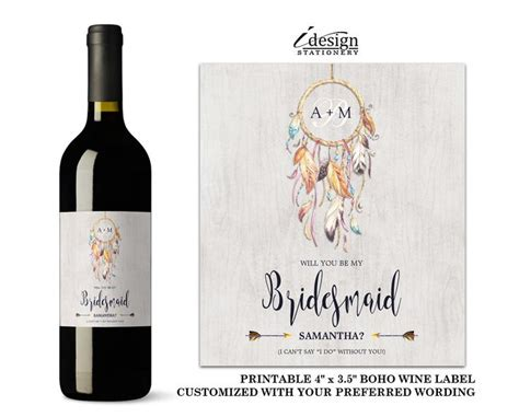 wine label wedding invitations boho will you be my bridesmaid wine label with dreamcatcher diy printable bohemian style
