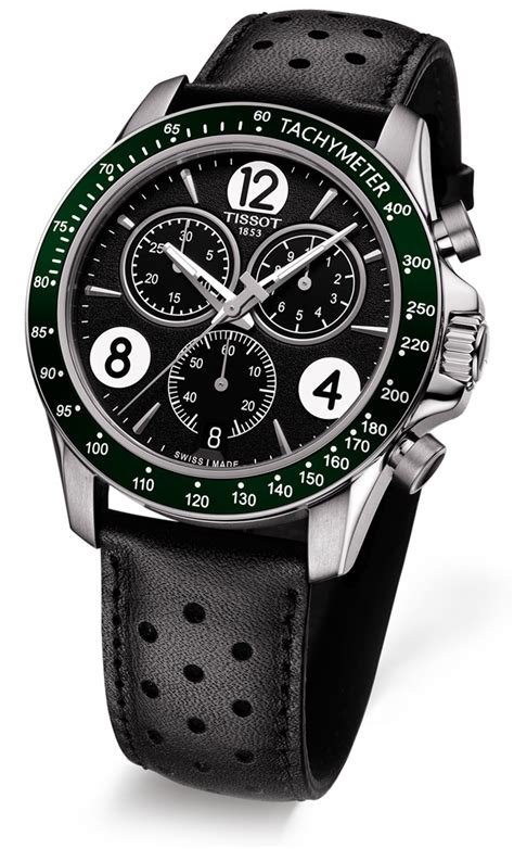 Tissot V8 Leather Crono Black For tissot t sport v8 black leather green bezel s t106 417 16 057 00 ebay