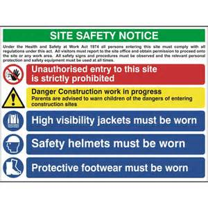 ese direct   construction site safety sign with 1 prohibition 1 warning amp 3 mandatory messages