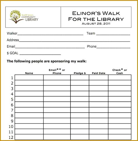 walkathon registration form template walkathon registration form template 6 order forms