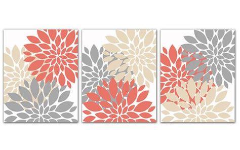flower burst wall art set coral gray  beige tan coral