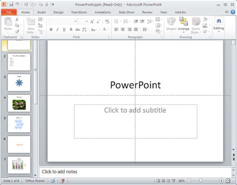 as option in powerpoint 2010 for windows