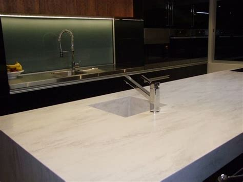 corian bench top corian raincloud waterfall island with stainless steel