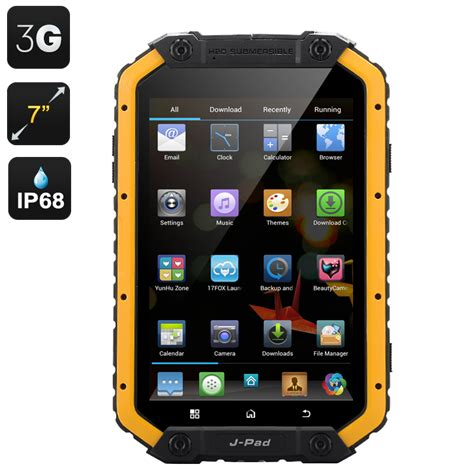 rugged android tablet devices m fox jpad rugged waterproof android tablet 7 inch screen cpu dual sim