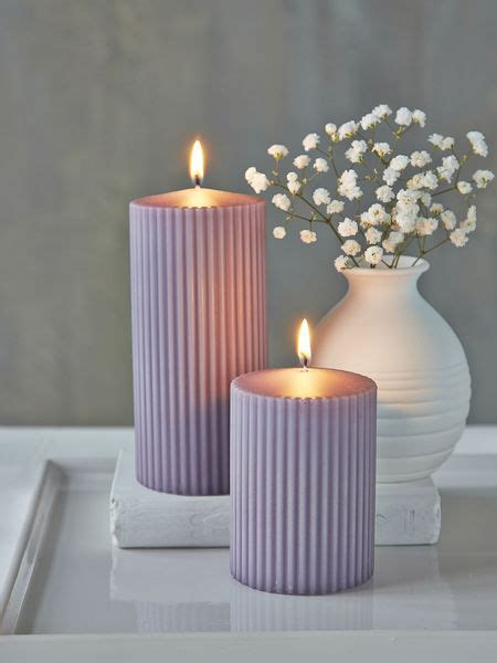 Rilled Pillar Candles   Lavender