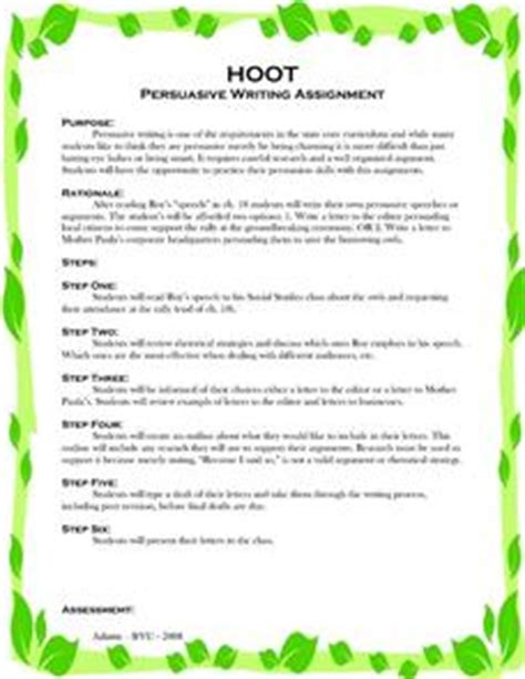 hoot persuasive writing assignment 6th 8th grade
