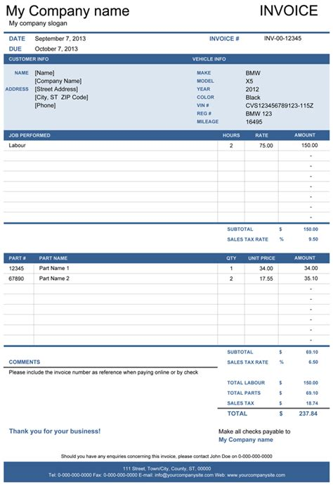 automotive invoice template vehicle repair invoice free template for excel