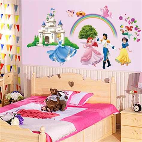 children room wallpaper with princess themes home design disne cartoon vinyl wall stickers for kids rooms girls