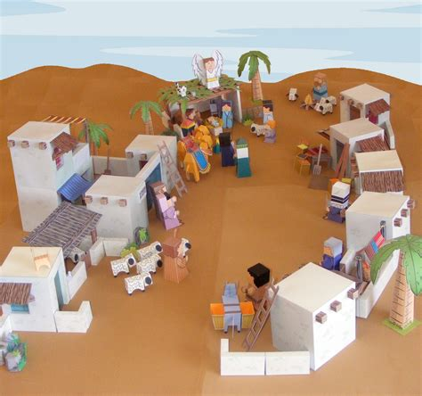 nativity paper craft my house bible paper toys bethlehem town paper