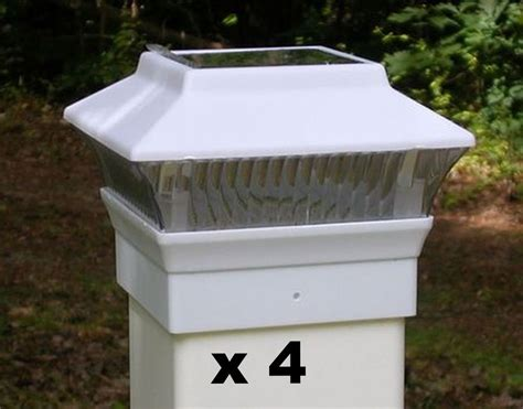 Solar Light Post Caps 4x4 4 white solar fence post cap lights for 4x4 pvc vinyl fence posts pl244w ebay