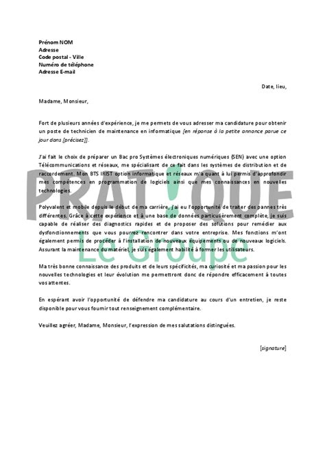 Lettre De Motivation De Informatique Lettre De Motivation Pour Un Emploi De Technicien De Maintenance En Informatique Pratique Fr