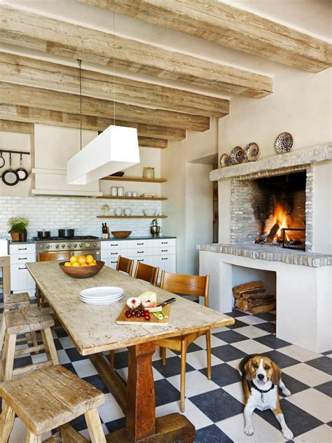 rustic cooking rustic kitchen with exposed beams brick fireplace hgtv