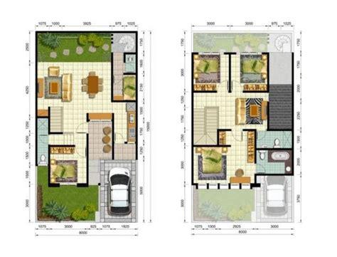 desain rumah 8 x 15 sketsa rumah 3 kamar tidur 2 lantai denah rumah