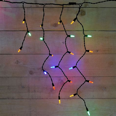 green wire icicle lights led icicle string light strands multi color 70 lights