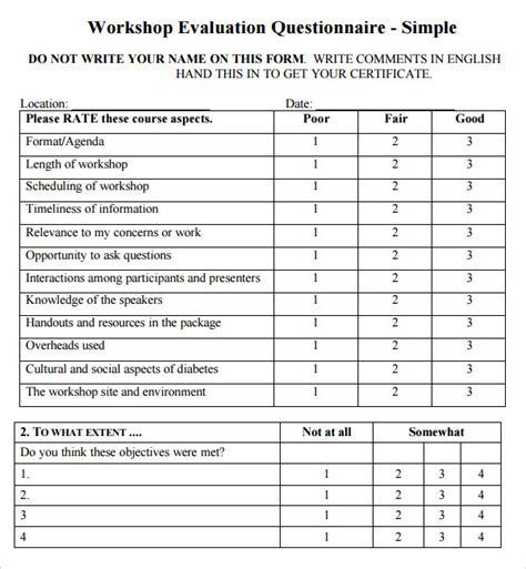 workshop evaluation form 9 free download for pdf