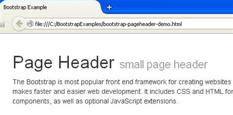 bootstrap layout with header bootstrap page heading