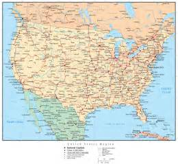 United states map with countries capitals us states cities travelquaz