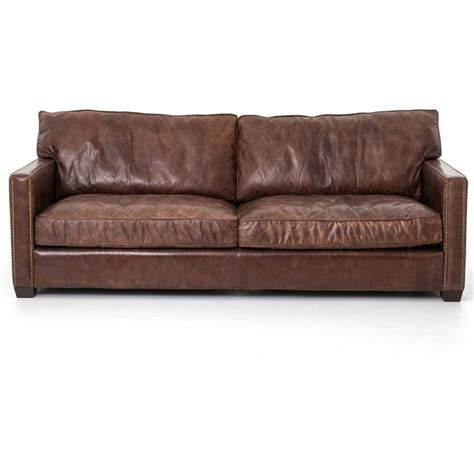 distressed leather sleeper sofa larkin 3 seater vintage cigar contemporary leather sofa