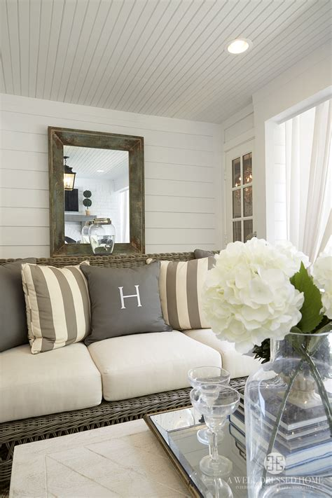 Shiplap Wall Living Room Shiplap Walls And Beadboard Ceiling In The Outdoor Living