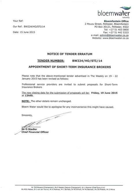 Insurance Tender Letter Bloemwater Tenders Quotations Www Govpage Co Za