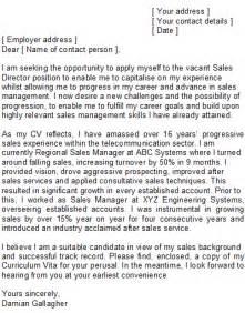 Sales Manager Covering Letter Sample