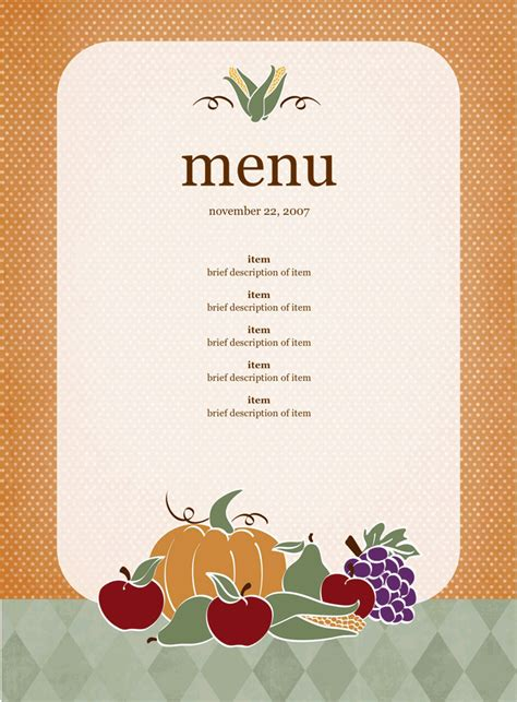 download party menu template 2 for free tidyform