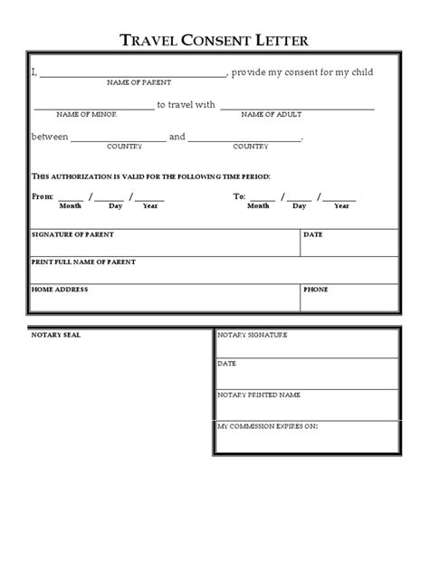 authorization letter for my child to travel with grandparents travel consent letter blank