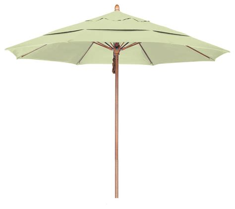 Outdoor Patio Umbrellas Sunbrella 11 Foot Sunbrella Fabric Pulley Open Wood Market Umbrella Contemporary Outdoor Umbrellas