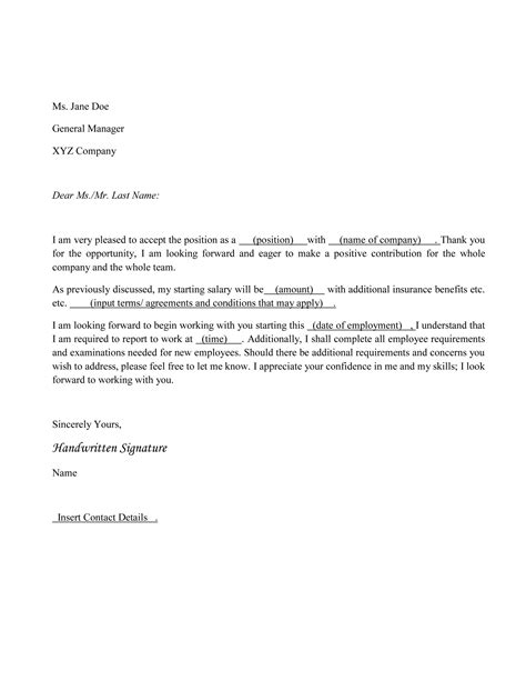 Acceptance Letter To Employment how to write a acceptance letter with sles