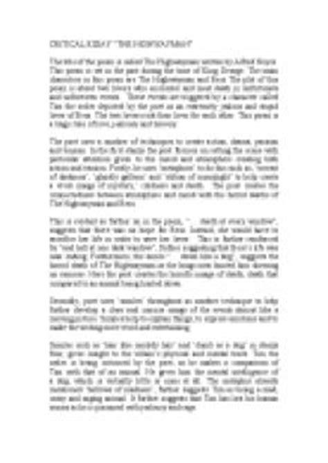 printable version of the highwayman highwayman poem worksheets releaseboard free printable