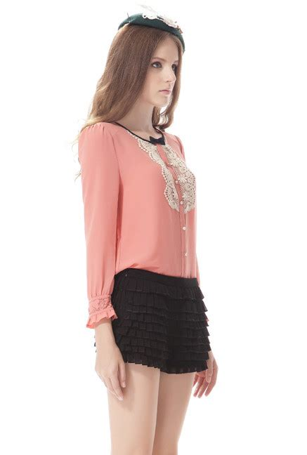 19455 Sweet Tie Blouse 1 sleeve bib tie blouse chiffon blouse pink
