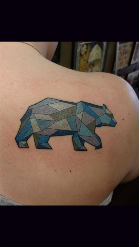geometric bear tattoo geometric done by reese farness at ironworks