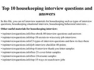 top 10 housekeeping questions and answers