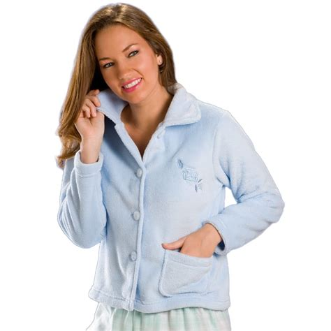 ladies bed jackets new womens ladies blue button up warm soft fleece bed